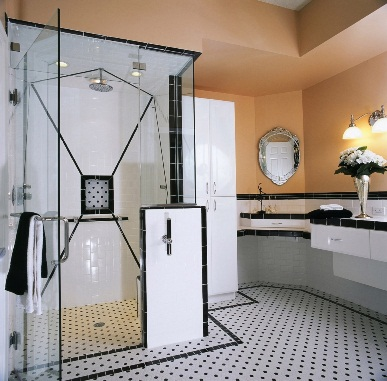 Accessible bath with low-lip shower and wheelchair-accessible sink and cabinetry